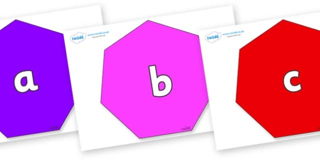 Phase 2 Phonemes on Heptagons - Phonemes, phoneme, Phase 2, Phase two, Foundation, Literacy, Letters and Sounds, DfES, display