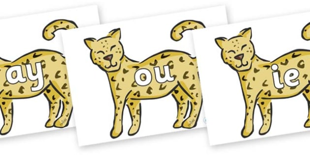 Phase 5 Phonemes on Leopards - Phonemes, phoneme, Phase 5, Phase five, Foundation, Literacy, Letters and Sounds, DfES, display