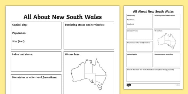 All About New South Wales Research Worksheet / Activity Sheet - australia, Geography, research, questions, questioning, answers, New South Wales, Sydney, facts, states, territories, Australia, worksheet