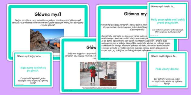 Karty do czytania ze zrozumieniem Główna myśl po polsku - lektury