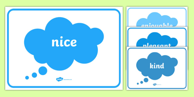 Another Word for Nice - display posters, Extending vocabulary, descriptive words, adjectives, adjective poster, literacy area, writing area