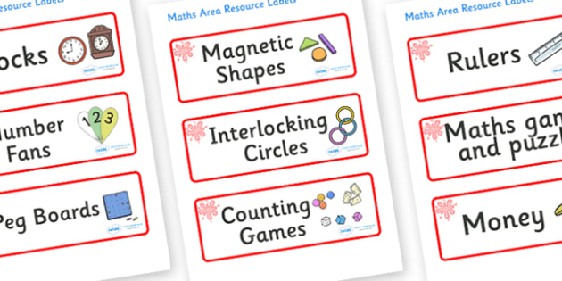 Red Themed Editable Maths Area Resource Labels - Themed maths resource labels, maths area resources, Label template, Resource Label, Name Labels, Editable Labels, Drawer Labels, KS1 Labels, Foundation Labels, Foundation Stage Labels, Teaching Labels,