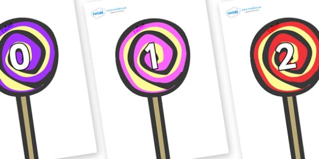 Numbers 0-50 on Lollipops to Support Teaching on The Very Hungry Caterpillar - 0-50, foundation stage numeracy, Number recognition, Number flashcards, counting, number frieze, Display numbers, number posters