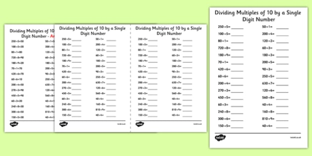 Dividing Multiples Of 10 By 1 Digit Numbers A5 Worksheet