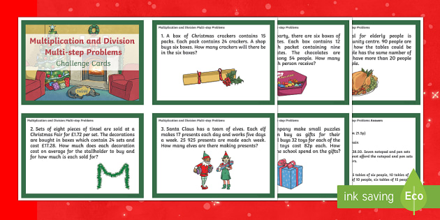 UKS2 Multiplication and Division Multi-step Word Problems Maths Challenge Cards