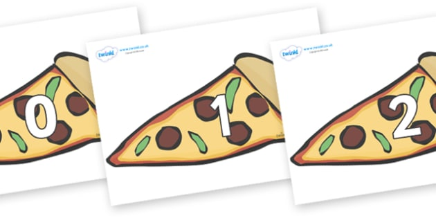 Numbers 0-50 on Pizza Slices - 0-50, foundation stage numeracy, Number recognition, Number flashcards, counting, number frieze, Display numbers, number posters