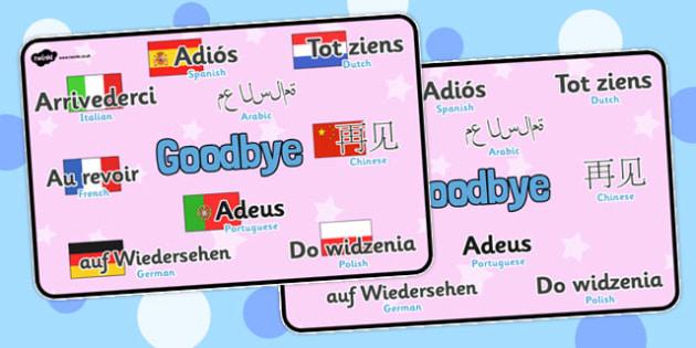 Mixed Language Goodbye Display Signs - Goodbye sign, adios, adeus, auf Wiedersehen, au revoir, bye, language, different languages