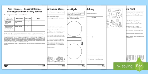 Year 1 Science Learning from Home (Seasonal Changes) Activity Booklet -  homework, outdoors, seasons, nature, spring, summer, autumn, winter