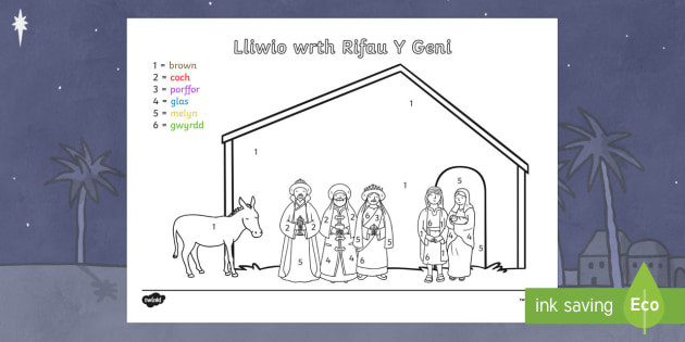 Taflen Lliwio Wrth Rifo Stori'r Geni - nadolig, ndolig, christmas,lliwio wrth rhifo, Nadolig, y Geni, taflen lliwio wrth rifau, Cyfnod sylfaen, Cymraeg, Iaith, Welsh