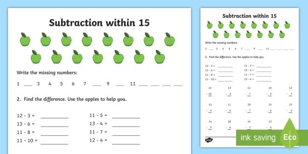subtraction within 15 worksheet worksheet ni ks1 numeracy subtraction. Black Bedroom Furniture Sets. Home Design Ideas