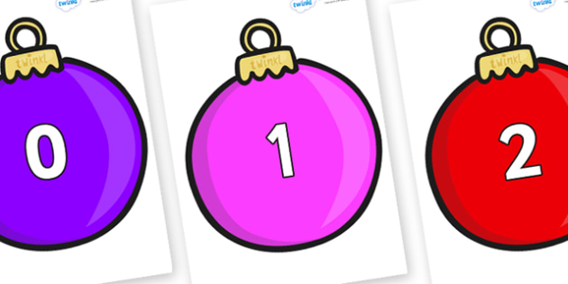 Numbers 0-31 on Baubles (Plain) - 0-31, foundation stage numeracy, Number recognition, Number flashcards, counting, number frieze, Display numbers, number posters