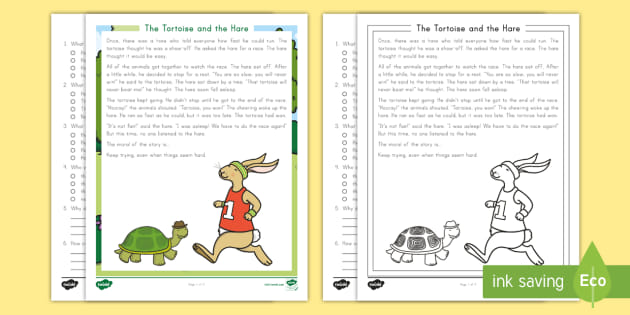 2nd Grade The Tortoise And The Hare Reading Comprehension