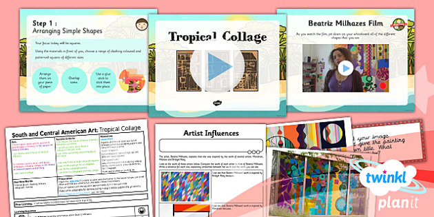 Art: South and Central American Art: Tropical Collage UKS2 Lesson Pack 5