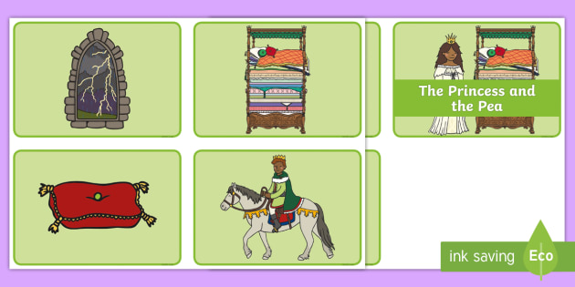 The Princess and the Pea Story Sequencing (Speech Bubbles - 4 per A4) - The Princess and the Pea, sequencing, prince, queen, princess, pea, castle, fairytale, traditional tale, Hans Christian Andersen, story, story sequencing,