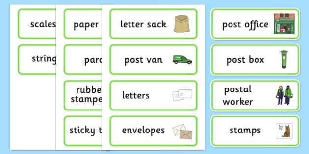Irish Post Office Word Cards - role play, display, label