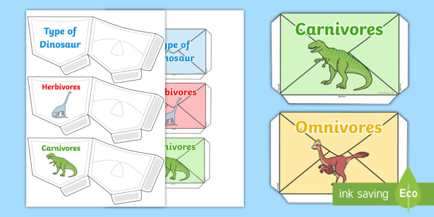 Dinosaur Herbivores and Carnivores Sorting Pouches - pouches