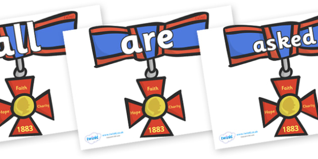 Tricky Words on Medals - Tricky words, DfES Letters and Sounds, Letters and sounds, display, words