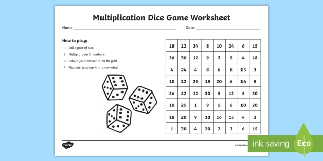 Multiplication dice game worksheet australia multiplication for 10 in 1 games table australia
