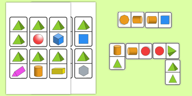 2D & 3D Shape Dominoes - Shapes matching, 2d shape, 3d shape, shape recognition, 2d, 3d, shape properties, shape game, foundation stage numeracy, counting, domino, dominoes, domino set