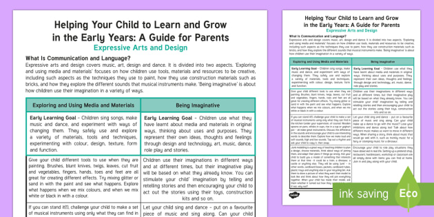 Supporting Your Child's Learning in Reception - Expressive Arts and Design Parent and Carer Information Sheet - home, cd, creative, development, creativity, art, crafts, imagination, imaginative, reception, early