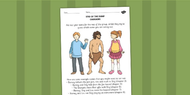 Stig of the Dump Charades - games, story books, literacy games