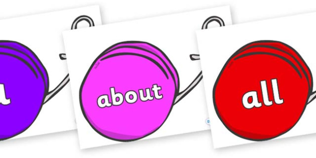 100 High Frequency Words on Yo Yos - High frequency words, hfw, DfES Letters and Sounds, Letters and Sounds, display words
