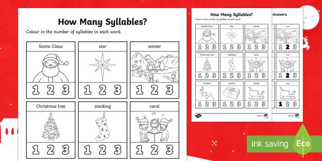 How Many Syllables? Christmas Activity Sheet