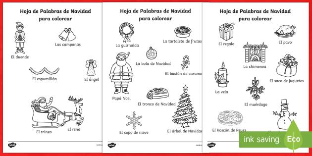 Navidad Hojas Palabras Colorear Spanish - spanish, christmas