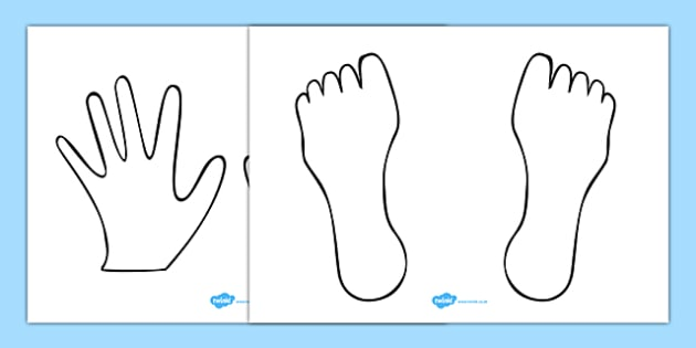 Hand And Feet Colouring Sheet Templates - My Body Primary