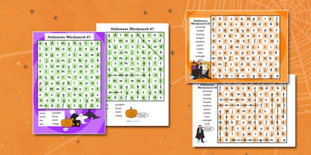 Halloween Wordsearches - halloween, wordsearch, themed wordsearch, word search, word games, word activities, themed word games, halloween games, activities