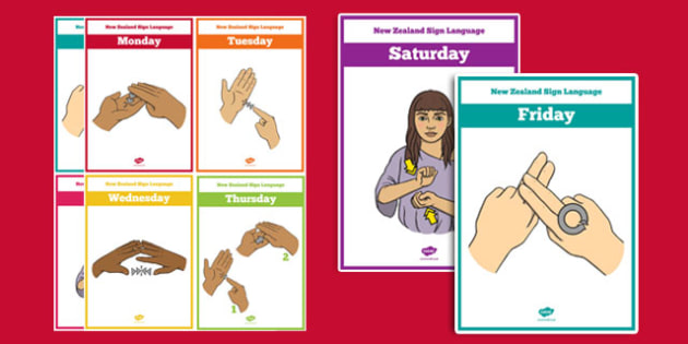 New Zealand Sign Language Days of the Week Cards - nz, new zealand, sign language, new zealand sign language week, days of the week, cards