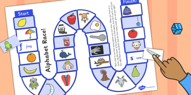 Self-Checking Alphabet Board Game - alphabet, board game, check