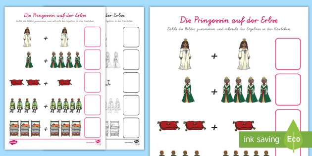 Die Prinzessin auf der Erbse Addition Arbeitsblatt - Märchen