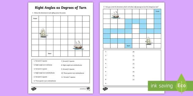 Right Angles as Degrees of Turn Worksheet / Worksheet ...
