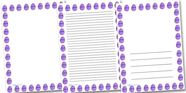 Purple Easter Egg Portrait Page Borders- Portrait Page Borders - Page border, border, writing template, writing aid, writing frame, a4 border, template, templates, landscape