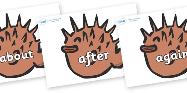KS1 Keywords on Puffer Fish - KS1, CLL, Communication language and literacy, Display, Key words, high frequency words, foundation stage literacy, DfES Letters and Sounds, Letters and Sounds, spelling