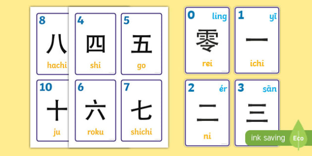 graphic about Japanese Flashcards Printable called Eastern Quantities 0-10 and 100 Flashcards - jap figures