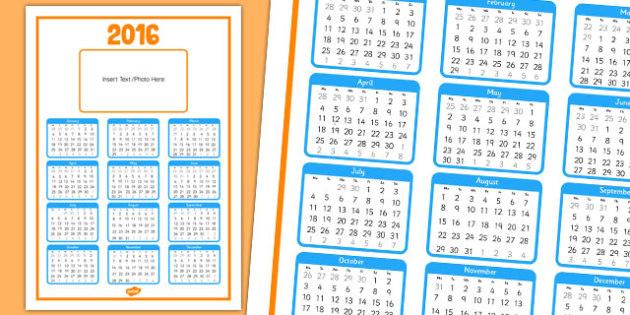 Editable 2016 Calendar - editable, 2016, calendar, year, edit