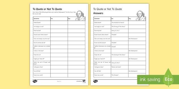 To Quote Or Not To Quote Worksheet Activity Sheet Secondary