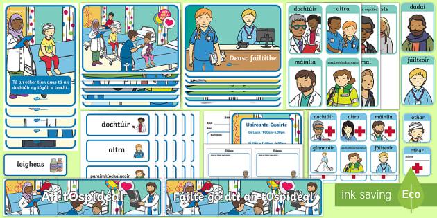 The Hospital Aistear Display Pack Gaeilge - ospidéal, Infants, Oral Language, doctor, nurse, doctors, nurses, emergency, ambulance, role play, roleplay,