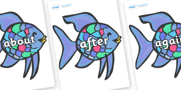 KS1 Keywords on Rainbow Fish to Support Teaching on The Rainbow Fish - KS1, CLL, Communication language and literacy, Display, Key words, high frequency words, foundation stage literacy, DfES Letters and Sounds, Letters and Sounds, spelling