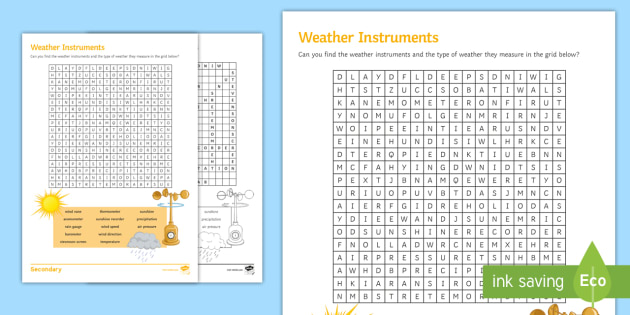 weather instrument wordsearch worksheet activity sheet. Black Bedroom Furniture Sets. Home Design Ideas