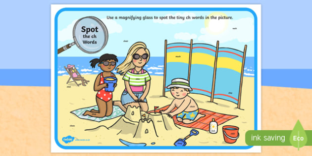 Phase 3 ch Words Beach Scene Magnifying Glass Worksheet / Activity Sheet, worksheet