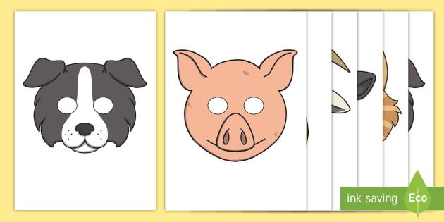 Farm Animal Mask Templates - Farm, animals, animal, Role Play, mask, pig
