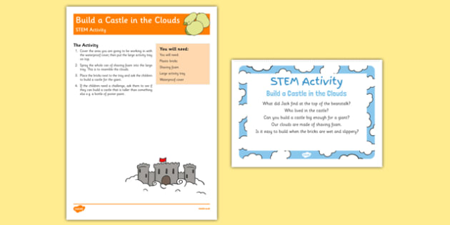 Build a Castle in the Clouds STEM Activity and Prompt Card Pack - Jack and the Beantstalk, EYFS, story, Literacy