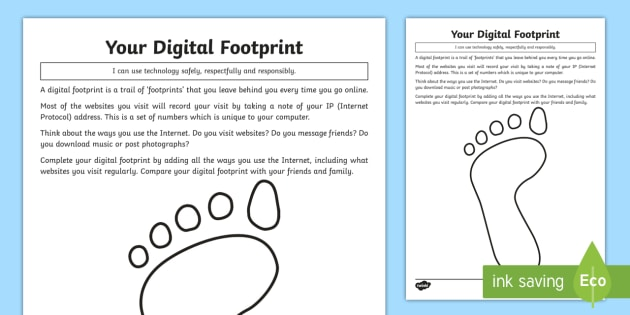 Your Digital Footprint Worksheet / Worksheet - computing, e ...