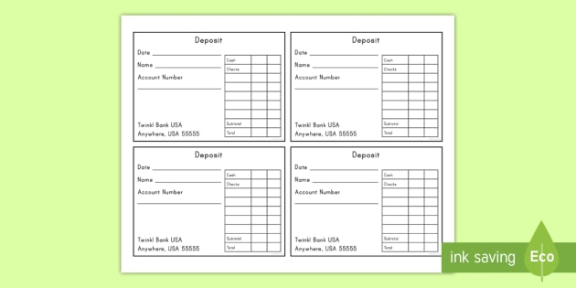USA Bank Dramatic Play Deposit Slip Form - Dramatic Play, Atm, Role Play