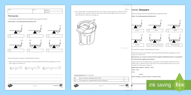 Moments Worksheet / Activity Sheet - Homework, force, forces, moments, newton, newton-metre, perpendicular distance, fulcrum, pivot, turn