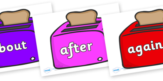 KS1 Keywords on Toasters - KS1, CLL, Communication language and literacy, Display, Key words, high frequency words, foundation stage literacy, DfES Letters and Sounds, Letters and Sounds, spelling