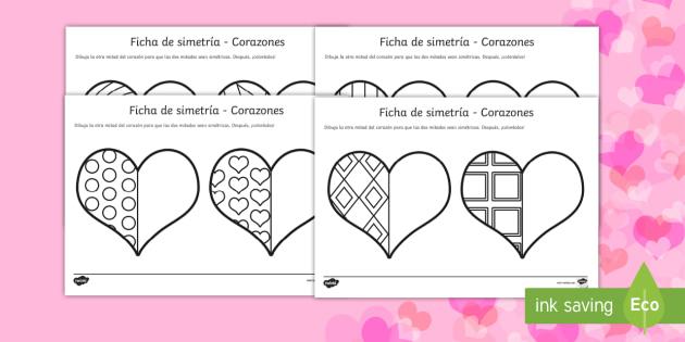Actividad de simetria de San Valentín - Hoja de actividad de